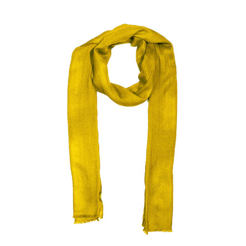 100 % Cashmere Wool Mustard Colour Scarf (Size 70x190cm)