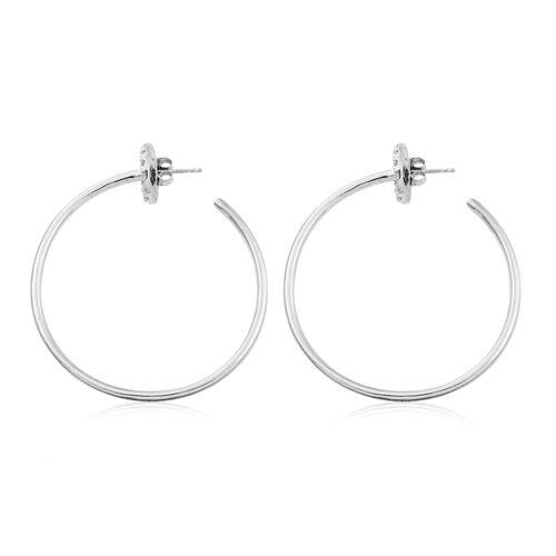 Designer Inspired - Natural White Cambodian Zircon (Rnd) Hoop Earrings in Platinum Overlay Sterling Silver 1.750 Ct, Silver wt 14.83 Gms