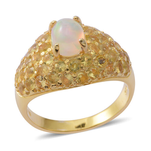 Ethiopian Welo Opal (Ovl), Yellow Sapphire Ring in 14K Gold Overlay Sterling Silver 4.150 Ct. Silver