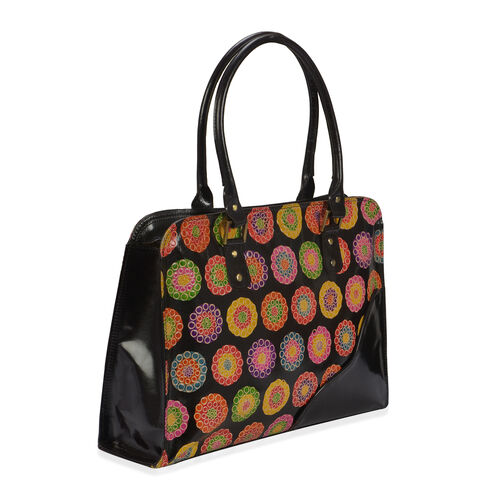 100% Genuine Leather Multi Colour Hand Printed Circles Pattern Shoulder Bag With RFID Blocker (Size 40x30 Cm)