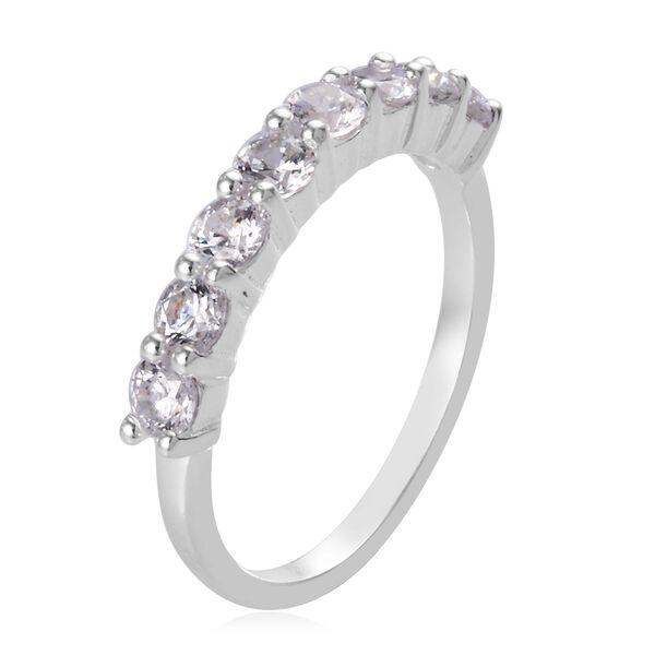 J Francis Platinum Overlay Sterling Silver Half Eternity Ring Made with SWAROVSKI ZIRCONIA