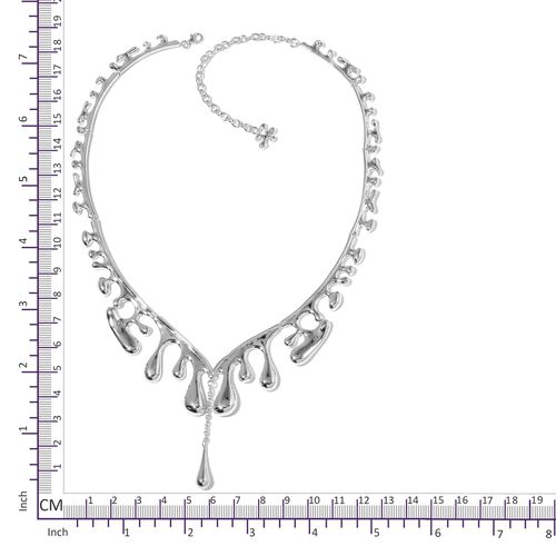 LucyQ  Rhodium Plated Sterling Silver Outer Wave Single Drip Necklace (Size 16 with 4 inch Extender) Made with SWAROVSKI ZIRCONIA, Silver wt 60.70 Gms.