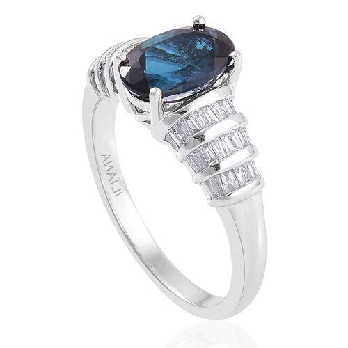 ILIANA 18K W Gold AAA Monte Belo Indicolite (Ovl 1.50 Ct), Diamond (SI/G-H) Ring 1.750 Ct.