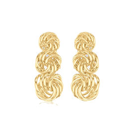 9K Yellow Gold Graduated Knot Drop Earrings (with Push Back), Gold wt 1.77 Gms