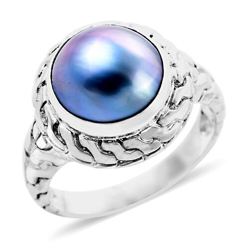 Royal Bali Blue Mabe Pearl Solitaire Ring in Sterling Silver