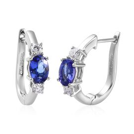 Rhapsody AAAA Tanzanite (1.55 Ct) and Diamond 950 Platinum Earring  2.000  Ct.