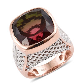 Finch Quartz (Cush 14x14 mm) Ring in Rose Gold and Platinum Overlay Sterling Silver 12.250 Ct, Silve