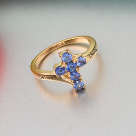Personalised Gold Overlay Tanzanite Cross Ring in Silver