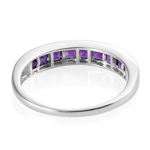 Amethyst (Sqr) Half Eternity Ring in Sterling Silver 1.250 Ct.