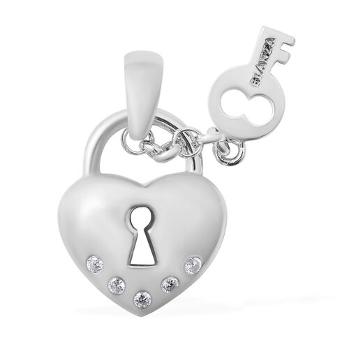 ELANZA Simulated Diamond (Rnd) Lock and Key Pendant in Rhodium Overlay Sterling Silver, Silver wt 6.80 Gms