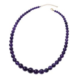 Collectors Edition- 9K Yellow Gold AAAA Zambian Amethyst (Rnd 5-16 mm) Graduated Necklace (Size 18 w