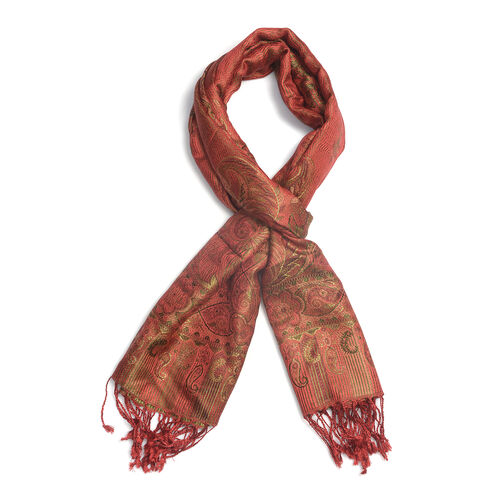 SILK MARK 100% Superfine Silk Jacquard Pattern Red and Maroon Colour Scarf (Size 70x180 Cm)