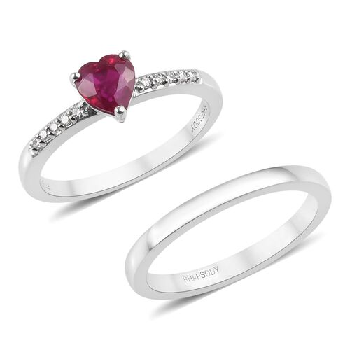 2 Piece Set - RHAPSODY 950 Platinum AAAA Burmese Ruby (Hrt), Diamond (VS/E-F) Ring 1.10 Ct, Platinum