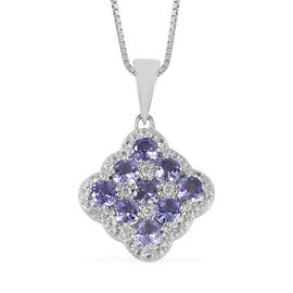 Tanzanite (Rnd), Natural  Cambodian White Zircon Cluster Pendant with Chain in Rhodium Overlay Sterling Silver 1.180 Ct.
