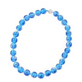 Millefiori Collection- Aquamarine Colour Murano Style  Glass Beads Necklace (Size 20) with Magnetic