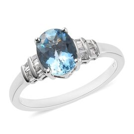 RHAPSODY 950 Platinum AAAA Santa Maria Aquamarine and Diamond (VS/E-F) Ring 1.25 Ct.