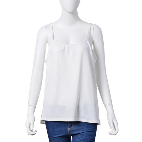 White, Dark and Light Fuchsia Colour Stripe Pattern Poncho (Size 90x55 Cm) and White Colour Vest (Size 60x55 Cm)
