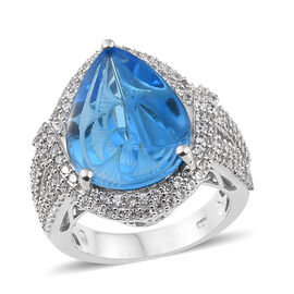 TJC Launch - Marambaia Topaz (Pear 14.00 Ct), Natural Cambodian Zircon Ring in Platinum Overlay Ster