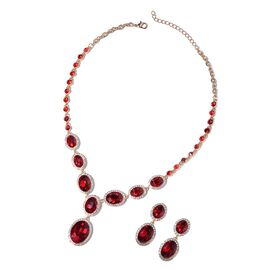 Simulated Ruby and Crystal Statement Necklace and Drop Earrings 20 Inch with 2 Inch Extender