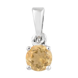 Citrine (Rnd) Solitaire Pendant in Platinum Overlay Sterling Silver 0.500 Ct.