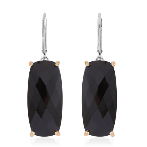 Designer Inspired - Rare Size Boi Ploi Black Spinel (Cush) Lever Back Earrings in Rhodium and 14K Gold Overlay Sterling Silver 40.000 Ct.