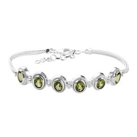 One Time Deal - Hebei Peridot Bracelet (Size 7 with 1.5 inch Extender) in Sterling Silver 5.31 Ct, S