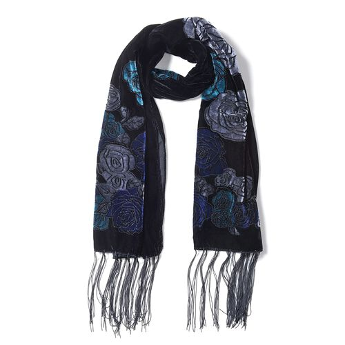 Designer Inspired- Black, Grey, Blue and Turquoise Colour Rose Flower Pattern Scarf (Size 160x50 Cm)