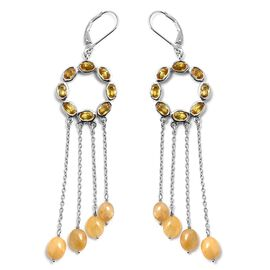 12 Ct Chanthaburi Yellow Sapphire Chandelier Earrings in Platinum Plated Silver 10.29 Grams
