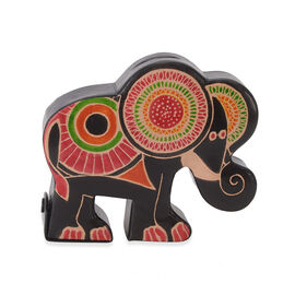 Handmade and Hand Painted Elephant Coin Bank (Size 16x4x13.5 Cm) - Black and Multicolour