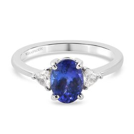 RHAPSODY 950 Platinum AAAA Tanzanite and Diamond (VS1) Ring 1.55 Ct.