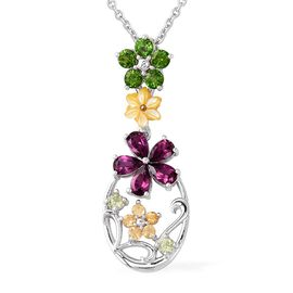 Autumn Jardin Collection - Rhodolite Garnet (Pear), Yellow Mother of Pearl, Russian Diopside, Hebei