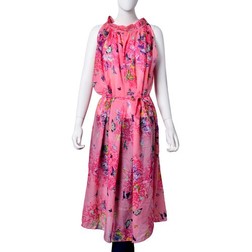 Midi Length Purple,Yellow and Multi Colour Floral and Butterfly Pattern Pink Colour Dress Free Size