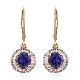 ILIANA 2.75 Ct AAA Tanzanite and Diamond Halo Drop Earrings in 18K Yellow Gold SI GH