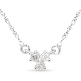 9K White Gold SGL Certified Diamond (Rnd) (I3/G-H) Necklace (Size 18) 0.10 Ct.