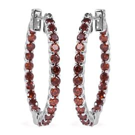 ELANZA Simulated Red Garnet Hoop Earrings with Clasp in Rhodium Plated Silver