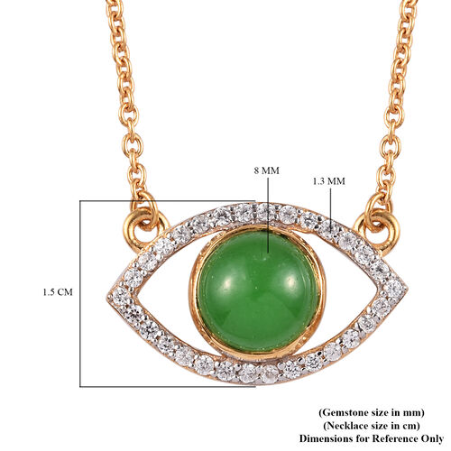 Sundays Child - Green Jade and Natural Cambodian Zircon Evil-Eye Pendant with Chain (Size 18) in 14K Gold Overlay Sterling Silver 3.00 Ct.