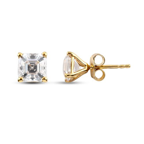 J Francis 14K Gold Overlay Sterling Silver Stud Earrings (with Push Back) Made with SWAROVSKI ZIRCONIA 4.00 Ct.
