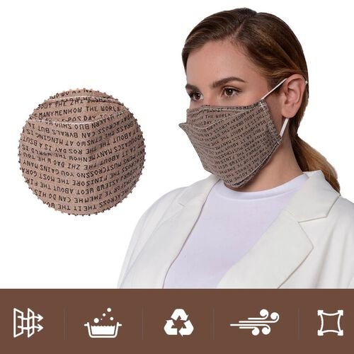 Letter Pattern Double Layer Reusable Open Mouth Face Covering with Adjustable Ear Loop in Taupe Colour (Size 22x18 Cm)
