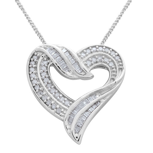 Diamond (Rnd and Bgt) Heart Pendant With Chain in Platinum Overlay Overlay Sterling Silver 0.330 Ct.