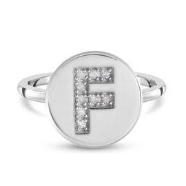 White Diamond Initial-F Ring in Platinum Overlay Sterling Silver