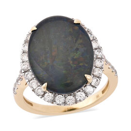 9K Yellow Gold AAA Australian  Boulder Opal (Ovl 16x12mm), Natural Cambodian Zircon Ring