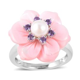 Jardin Collection - Pink Mother of Pearl, Freshwater Pearl and Amethyst Floral Ring in Rhodium Overl