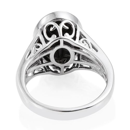 Boi Ploi Black Spinel (Ovl) Ring in Platinum Overlay Sterling Silver 12.000 Ct.