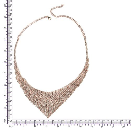 White Austrian Crystal (Rnd) Necklace (Size 15 with 6 Inch Extender) and Earrings in Rose Tone