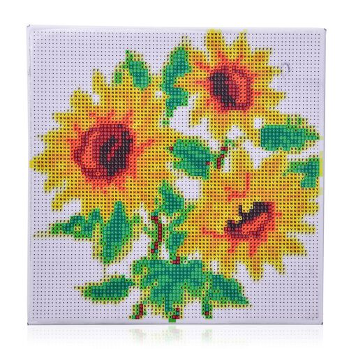 Home Decor - Sun Flower Pattern Painting Kit with Multi Colour Austrian Crystals (Size 24X24 Cm)