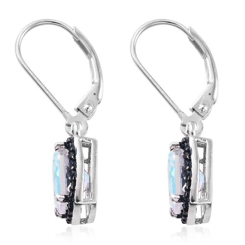 Mercury Mystic Topaz (Cush), Blue Diamond Lever Back Earrings in Platinum Overlay Sterling Silver 3.250 Ct.