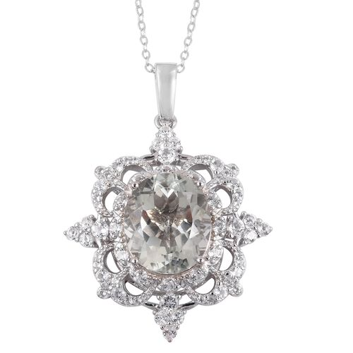 Green Amethyst (Ovl 8.00 Ct), White Topaz Pendant with Chain  in Rhodium Overlay Sterling Silver 10.