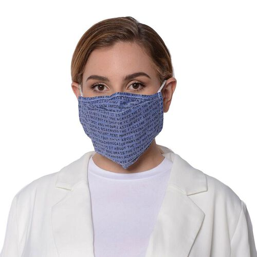 Letter Pattern Double Layer Reusable Open Mouth Face Covering with Adjustable Ear Loop in Blue-Grey Colour (Size 22x18 Cm)