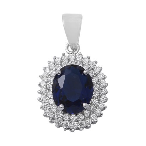 ELANZA Simulated Blue Sapphire (Ovl), Simulated Diamond Pendant in Rhodium Overlay Sterling Silver