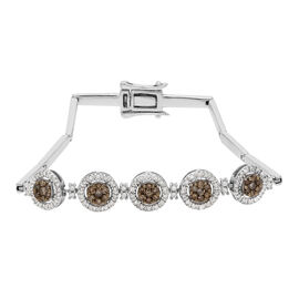 Champagne Diamond and White Diamond Bracelet (Size 7.5) in Platinum Overlay Sterling Silver 1.00 Ct,